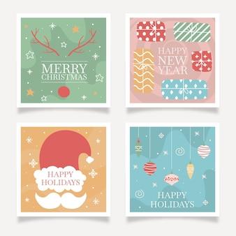 Set de tarjetas de navidad y año nuevo.