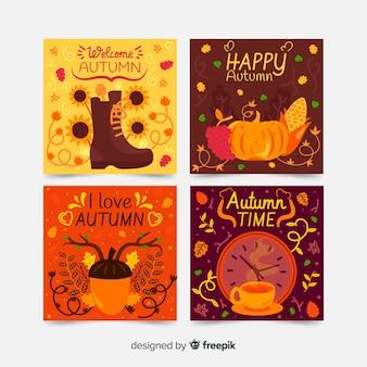 Set de tarjetas otoñales dibujadas