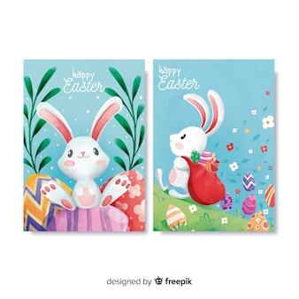 Set de tarjetas de pascua en acuarela