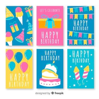Set tarjetas planas cumpleaños