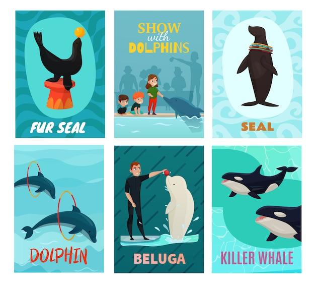 Set de tarjetas de presentación del delfinario