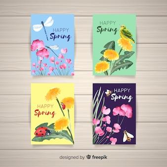 Set de tarjetas de primavera