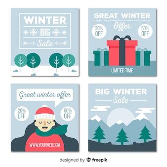 Set de tarjetas rebajas de invierno en diseño plano