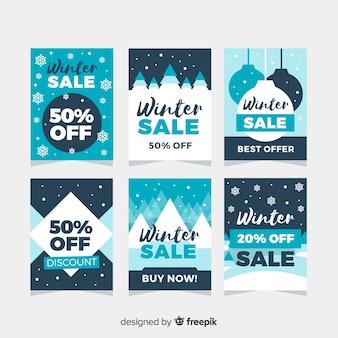 Set de tarjetas de rebajas de invierno en diseño plano