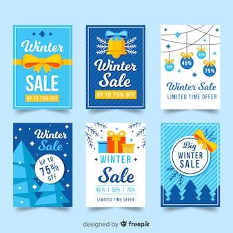 Set de tarjetas de rebajas de invierno