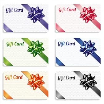 Set de tarjetas de regalo con lazo de diferentes colores