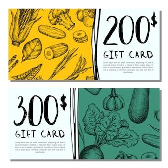 Set de tarjetas de regalo vegan cafe