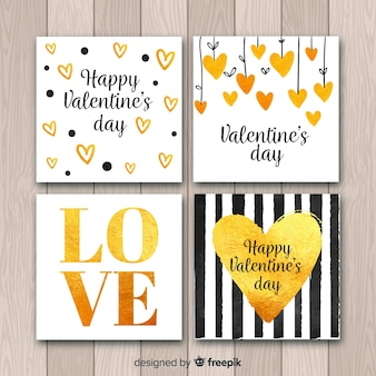 Set tarjetas san valentín detalles dorados