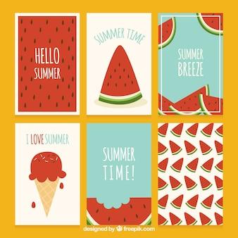 Set de tarjetas de verano con sandías