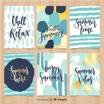 Set de tarjetas de verano