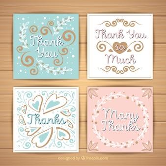 Set de tarjetas vintage de agradecimiento