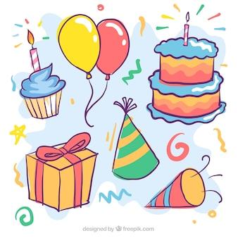 Set de tarta de cumpleaños y otros elementos dibujados a mano