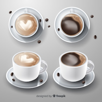 Set de tazas de café realistas