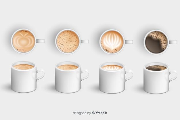 Set de tazas con café