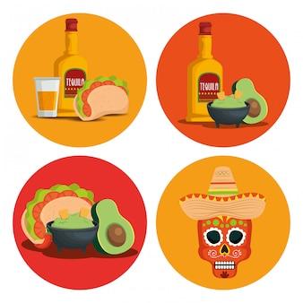 Set de tequila con salsa de aguacate y calavera para evento.