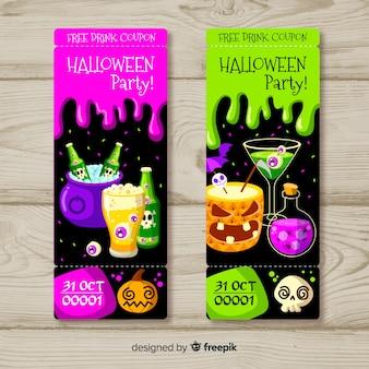 Set de tickets coloridos para fiesta de halloween dibujados a mano