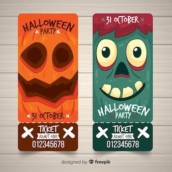 Set de tickets para fiesta de halloween con caras de monstruos