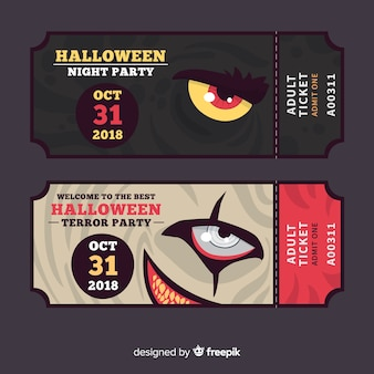 Set de tickets para fiesta de halloween con ojos de monstruos