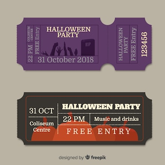 Set de tickets vintage para fiesta de halloween