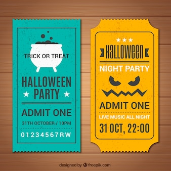 Set de tickets vintage de halloween