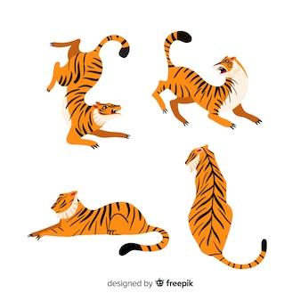 Set de tigres en diferentes posiciones, estilo cartoon