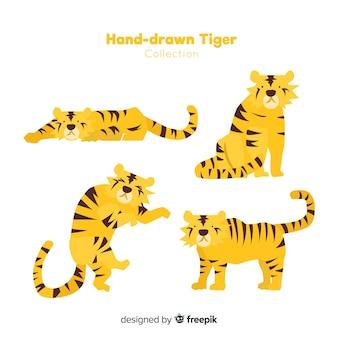 Set de tigres salvajes dibujados