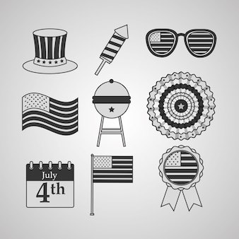 Set top sombrero sombrero gafas de sol rosette american independence day