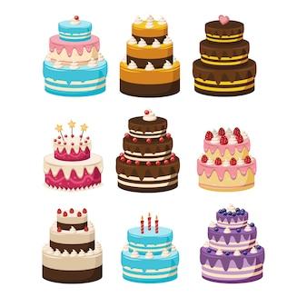 Set de tortas de cumpleaños. colección de tortas. ilustración de dibujos animados de diferentes tipos de pasteles hermosos y lindos, aislado en blanco.
