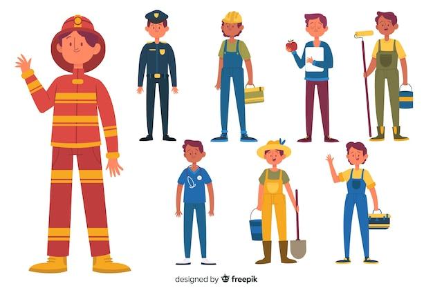 Set de trabajos de personas