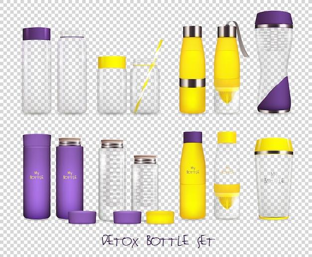 Set transparente frasco agua