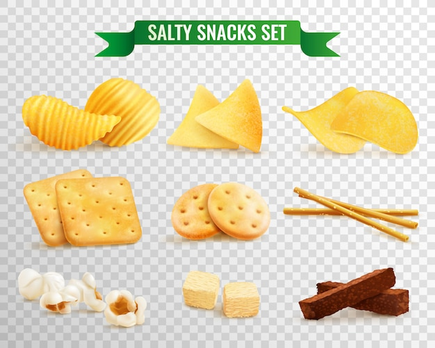 Set transparente snacks crujientes