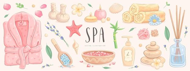 Set de tratamiento de spa dibujado a mano