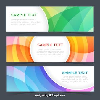 Set de tres banners abstractos de colores