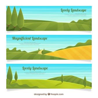Set de tres banners de campo con árboles