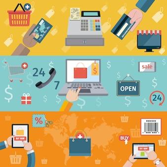 Set de tres banners con compras en línea