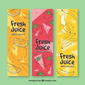 Set de tres banners de frutas dibujadas a mano