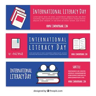 Set de tres banners de libros en estilo lineal