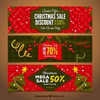 Set de tres banners de navidad con descuentos especiales