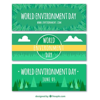 Set de tres banners verdes para el día mundial del medioambiente