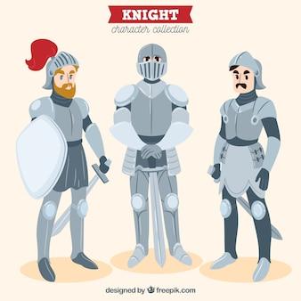 Set de tres caballeros de armadura