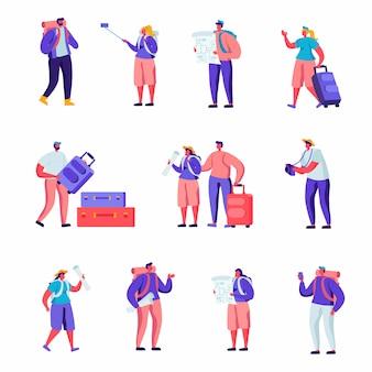 Set de turistas planos viajando por el mundo personajes