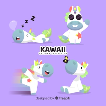 Set de unicornios de estilo kawaii