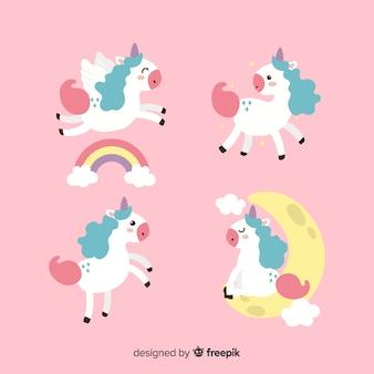 Set de unicornios de estilo kawaii