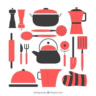 Set de utensilios de cocina planos