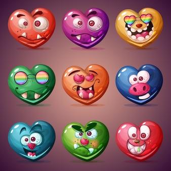 Set valentine heart