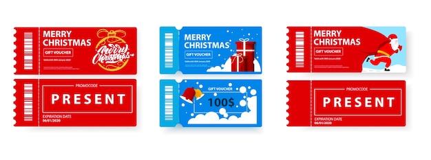 Set de vales de regalo de feliz navidad