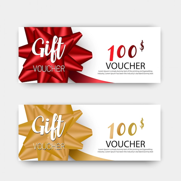 Set de vales de regalo de lujo. diseño en color rojo y dorado.