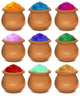 Set vasija de cerámica de pintura holi. festival de colores holi