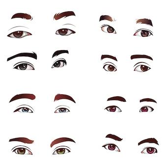 Set de vector de ojos realistas