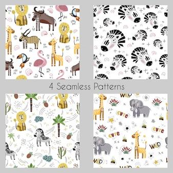 Set - vector patrones sin fisuras con dibujos animados de animales africanos, plantas, aves